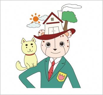 豊かな心を表す公式キャラクター「ユタカ&ココ郎」